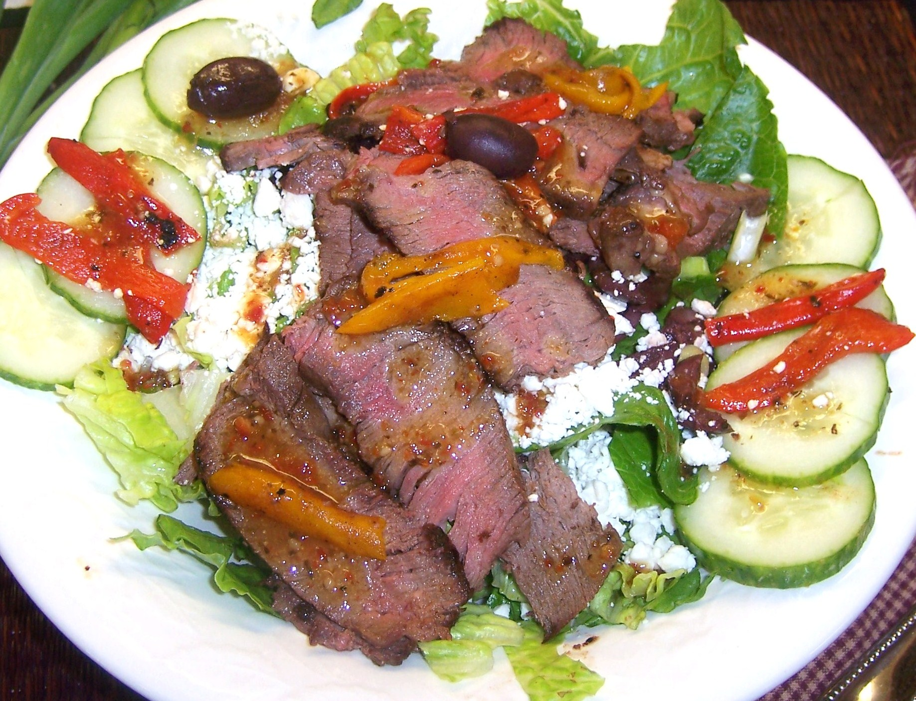 Greek Steak Salad with Sun Dried Tomato Vinaigrette | Enjoy Fun Family ...