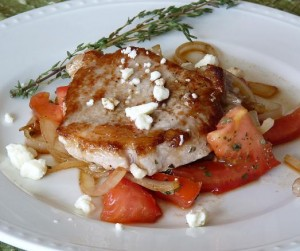 Balsamic Pork Chops with Tomatoes and Feta