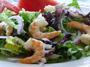 Watermelon Feta and Grilled Shrimp Salad