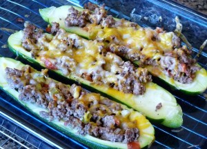 Chili Beef Stuffed Zucchini