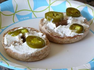 Cream Cheese bagels with jalapenos