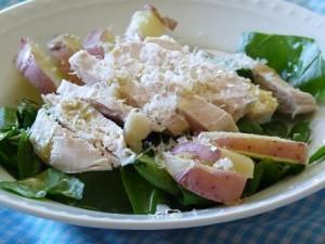 Chicken Spinach with warm mustard dressing