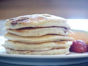 Stack of pecan sour cream buttermilk pancakes