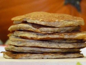 Whole Wheat Banana Pancakes stacked