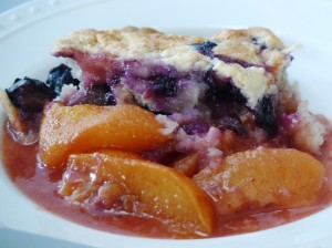 Blueberry Scones with Melted Peaches