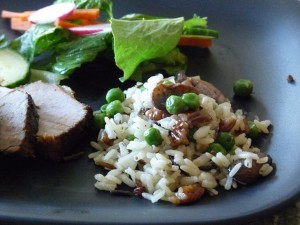 Wild Rice with pecans mushrooms and peas
