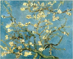 The Blossoming Almond Tree painted in the Saint Remy asylum 1890 a few months before his death. The piece was dedicated to Theo's newborn baby, Vincent.